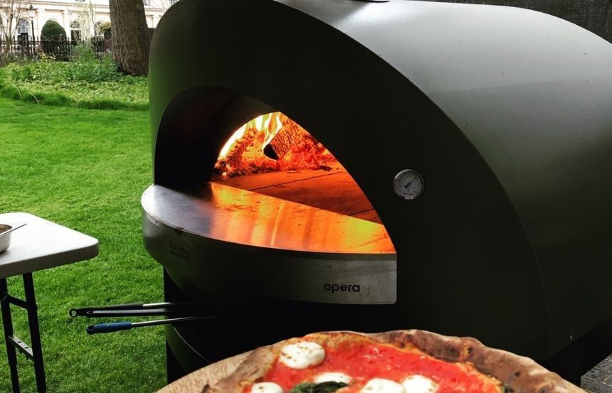 RCP London Events pizza oven, using eco-friendly fire logs from recycled coffee grounds